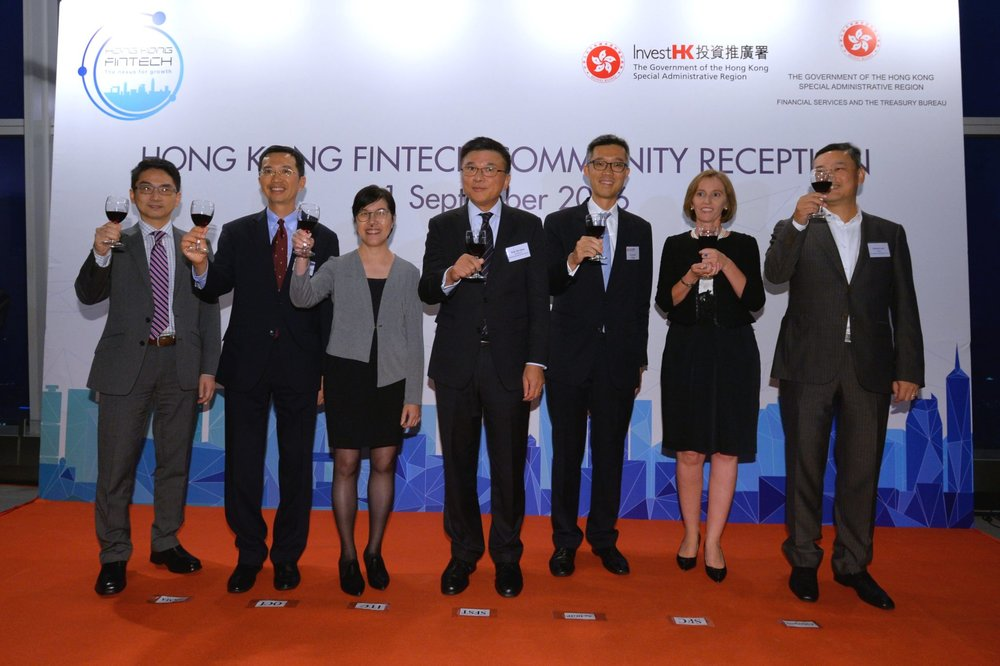 The Secretary for Financial Services and the Treasury, Professor K C Chan; the Acting Director-General of Investment Promotion, Mr Francis Ho, and other guests of honour today (September 21) officiate at the launch of Hong Kong FinTech Week, which is being held at PMQ in Central from November 7 to 11, 2016. Pictured from left are the Chief Fintech Officer of the Hong Kong Monetary Authority, Mr Nelson Chow; the Commissioner of Insurance, Mr John Leung; the Commissioner for Innovation and Technology, Ms Annie Choi; Professor K C Chan; Mr Francis Ho; the Senior Director of the Securities and Futures Commission, Ms Benedicte Nolens, and the CEO of Hong Kong Cyberport Management Company Limited, Mr Herman Lam.