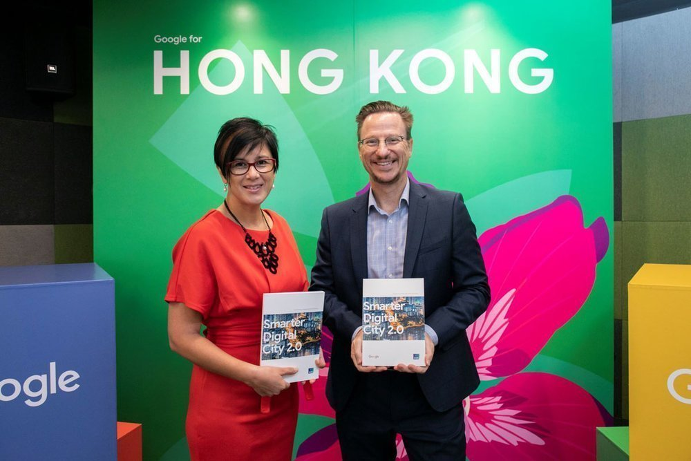 Leonie Valentine (left), Managing Director, Sales & Operation, Google Hong Kong, and Mick Gordon (right), Managing Director, Ipsos Hong Kong, discussed the Smarter Digital City Whitepaper 2.0 key findings and recommendations for Hong Kong to become a smart city.