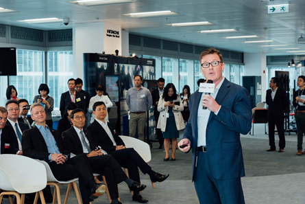 Photo 3: Andrew Sampson, Vice President and General Manager Hong Kong, Macau and Taiwan, Hitachi Vantara describes how the company is striving to build a smarter city in Hong Kong following the launch of the Hitachi Innovation Center.